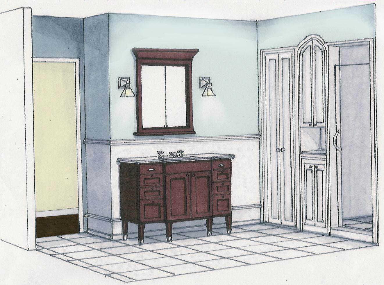 bathroom interior design sketches. Crest Residence Master Bathroom Renovation Interior Design Sketches D